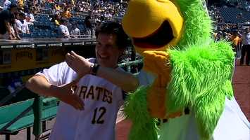 """Hal """"Zoltan"""" Sparks and the Pirate Parrot flash the """"Z"""" at PNC Park."""