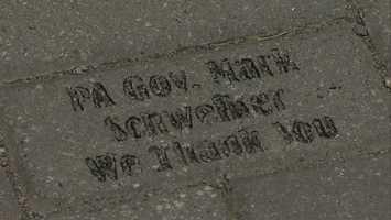 A brick dedicated to former Pa. Gov. Mark Schweiker
