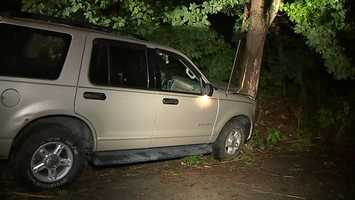 An SUV crashed into a hillside early Friday morning in the Banksville area of Pittsburgh.