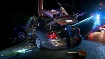 The impact in Brighton Heights was so powerful that the pole was almost in the driver's seat.