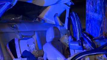Pittsburgh police say the driver lost control and hit the pole on Benton Avenue near Atkins Street around 1 a.m.