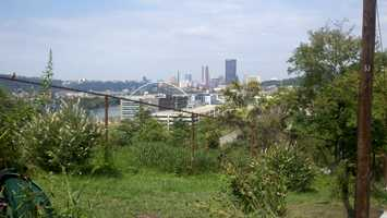 The shrine sits on a South Oakland hillside, overlooking the Parkway East.