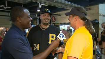 Demitrius Thorn shares a laugh with a fan at PNC Park
