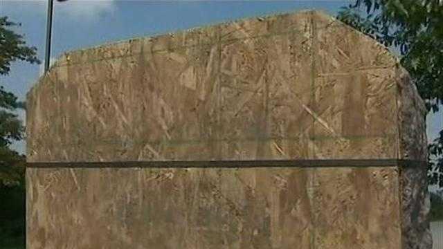 Ten Commandments plaque covered