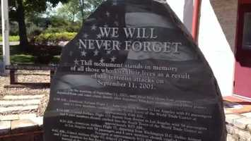 A 9/11 memorial plaque is displayed at the Cranberry Township Volunteer Fire Company.