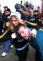 """A Steelers fan """"beats up"""" an Eagles fan at Heinz Field."""