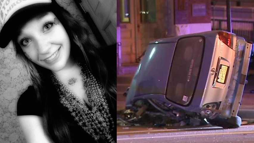 Sara Glaser-crashed car