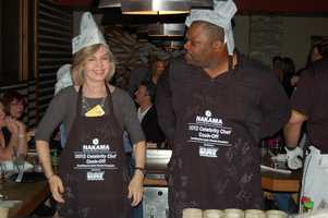 WTAE's Sally Wiggin and one of her co-chef's.... He's jealous her paper hat stayed on