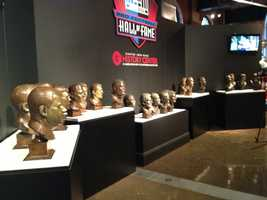 "The busts are part of the History Center's new exhibit, ""Gridiron Glory: The Best of the Pro Football Hall of Fame."""