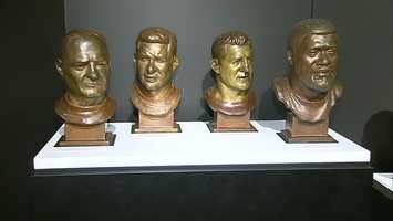 From left to right: Bert Bell, Bobby Layne, Ernie Stautner and Joe Greene