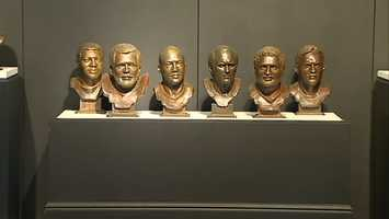 From left to right: John Henry Johnson, Jack Ham, Mel Blount, Terry Bradshaw, Franco Harris and Jack Lambert