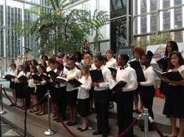 A children's choir sang carols.
