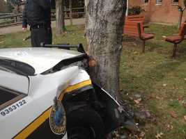 A Pittsburgh police car crashed during the pursuit of a suspected bank robber in Squirrel Hill.