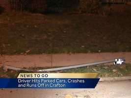 The driver also knocked down a pole and a sign on Dinsmore Avenue at about 10:40 p.m.