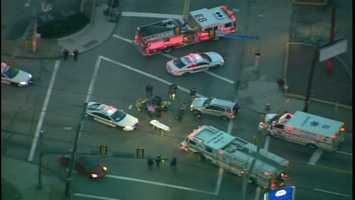 A pedestrian was struck by a car during rush hour at Frankstown Avenueand Washington Boulevard/Fifth Avenue in Homewood.