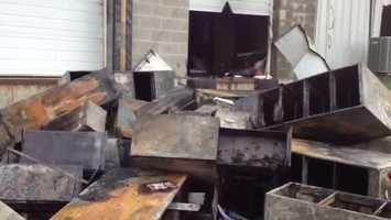 The Joseph Krow Company in North Huntingdon caught fire Sunday night.