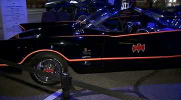 "The 1966 Batmobile from the ""Batman"" television series and movie starring Adam West"