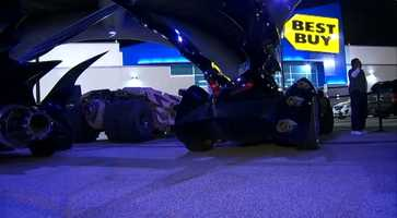 Six Batmobiles and the Batpod were on display outside the Best Buy store in Robinson on Friday night