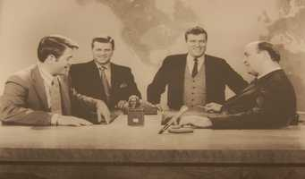 Don Cannon, Joe DeNardo, Ed Conway, and Paul Long on the WTAE Action News set from the early 1970's