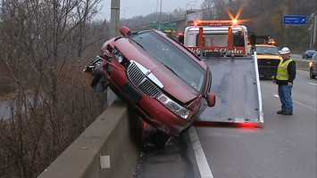 A car crash caused traffic backups Monday morning on the Parkway East (Interstate 376) headed out of Pittsburgh.