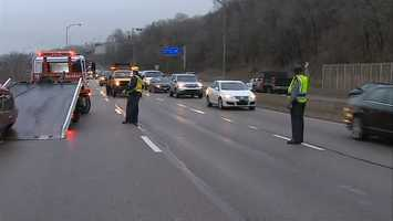 The accident happened in the eastbound lanes near Oakland.