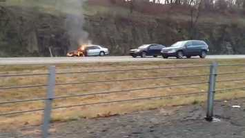 The fire happened around 8:15 a.m. in the northbound lanes.