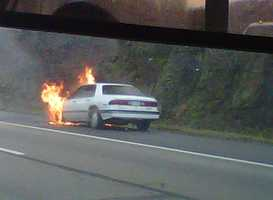 A car fire on Interstate 79 near the Wexford exit caused big traffic backups Wednesday morning.