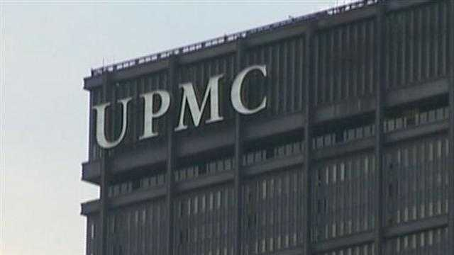 UPMC logo on Steel Building