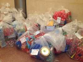 Hundreds of donated gifts were being collected and wrapped Friday at the Highmark building in downtown Pittsburgh.