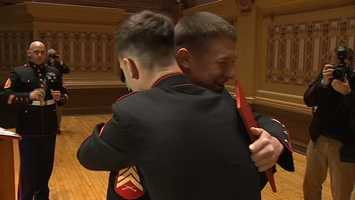 Many of Gerardi's fellow Marines traveled to Pittsburgh to congratulate him.