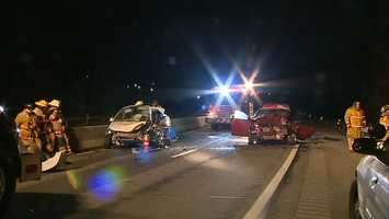 A wrong-way head-on crash on Route 30 sent two people to a hospital by helicopter early Wednesday.