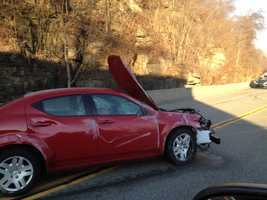 A three-car accident backed up morning traffic on Route 30 in East Pittsburgh.