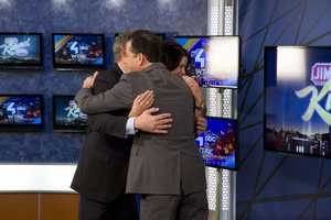 Still Hugging.... Jimmy Kimmel hugs it out with Action News' Wendy Bell and Mike Clark as they talk about the January 8th premiere of Jimmy Kimmel Live at 11:35pm!