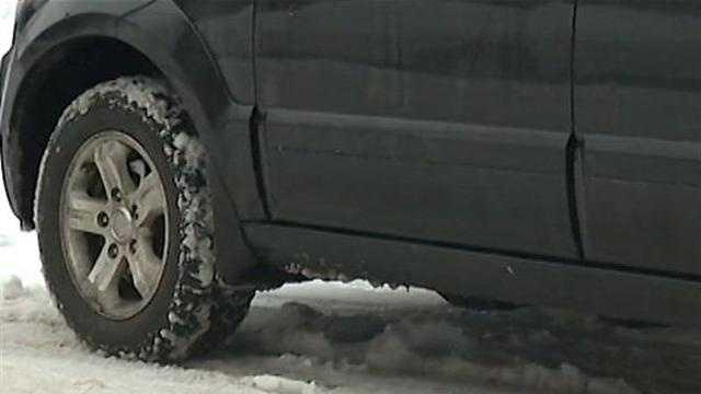 car tire in snow