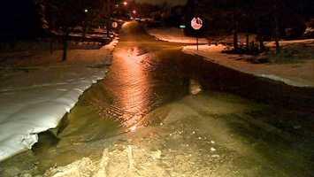 Water main break on Joan Drive in North Versailles.