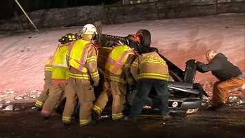 A driver ran away after getting into a late-night crash that injured a woman on Route 885.