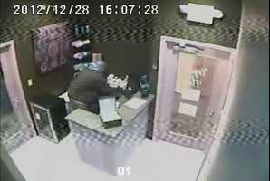 These surveillance images from Yoga Flow on Walnut Street were recorded on the afternoon of Dec. 28 and were released on Thursday.