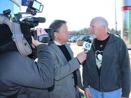 Action News Guy Junker with a Penguin Fan in Philadelphia
