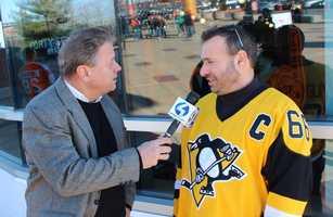 Action Sports' Guy Junker with a Penguin Fan in Philadelphia