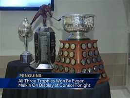 Video: Geno's trio of trophies on display at Consol Energy Center