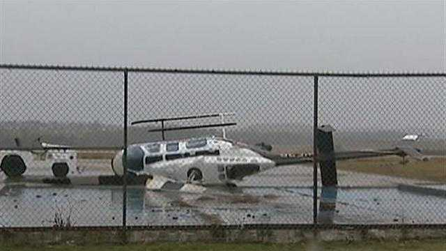 chopper toppled at airport