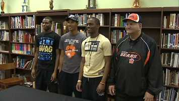 Titus Howard, Tyler Boyd, Terrish Webb and Clairton head coach Tom Nola