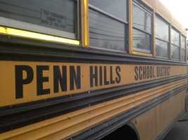 A Penn Hills School District bus lost a tire in traffic Thursday morning.