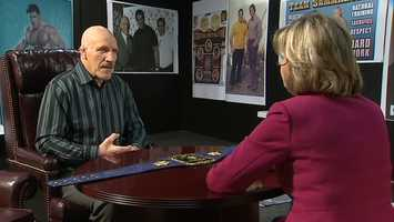 Channel 4 Action News anchor Sally Wiggin interviews Bruno Sammartino