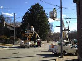 Traffic lights were damaged by strong wind gusts in Mt. Lebanon.