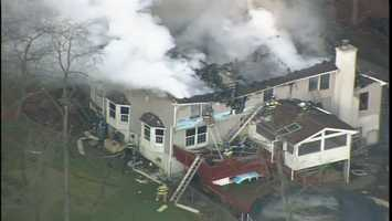 Flames are ripping through a large house on Center Street in Shaler Township.