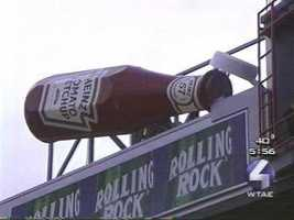 There's a huge red ketchup bottle on the scoreboard ...
