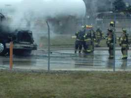 Tractor Trailer cab on fire at a gas terminal at Rt 136 and Willow Crossing in Westmoreland County