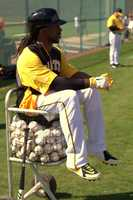Pirates All-Star outfielder Andrew McCutchen grabs an unusual seat at spring training.