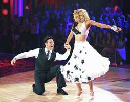 "Ingo & Kym - The competition heats up on ""Dancing with the Stars"" as the celebrities take on new dance routines and fight for survival. The couples performed a Jive, Quickstep or Jazz routine. (Photo: ABC/Adam Taylor)"